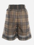 Burberry Shorts With All-over Vintage Check Motif - Beige