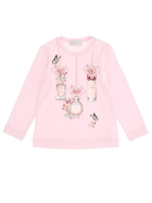 Monnalisa Long-sleeved Jersey T-shirt With Print - Pink