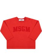 MSGM Red T-shirt For Baby Kids With Logo - Red