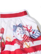 Monnalisa White Cotton Skirt - Bianco+rosso