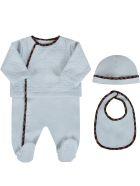 Fendi Light Blue Set With Double Ff For Baby Boy - Light Blue