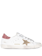 Golden Goose Woman White Super-star Sneakers With Pink And Gold Glitter Details