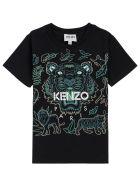 Kenzo Kids Black Cotton T-shirt With Tiger Print - Black