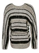 Brunello Cucinelli Tie-waist Stripe V-neck Cardigan - Bianco