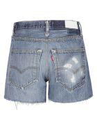 RE/DONE Denim Rip Cuff Detail Shorts - Indigo