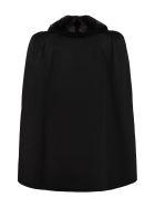 Fendi Fur Collar Wool Cape Coat - black