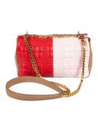 Burberry Two-color Logo Detail Shoulder Bag - Red/Pink