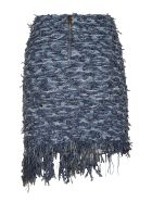 Balmain Button Embellished Tweed Skirt - Denim