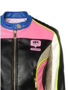 Chiara Ferragni Multicolor Coated Fabric Biker Jacket - NERO
