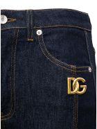 Dolce & Gabbana High Waisted Flared Jeans With Logo - Blu