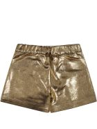 Balmain Golden Shorts For Baby Girl With Iconic Buttons - Gold