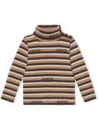 Gucci Baby Gucci Stripe Wool Polo Neck - Marrone