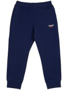 Emporio Armani Blue Cotton Pants With Logo - Blu