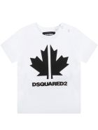 Dsquared2 White T-shirt For Baby Boy With Maple Leaf - White