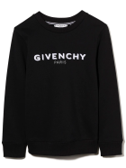 Givenchy Black Kids Round-neck Sweatshirt With White Logo - Nero