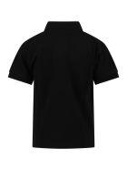 Comme des Garçons Play Black Polo T-shirt For Kids With Logo - Black