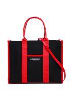 Balenciaga Leather And Canvas  Tote Handbag With Logo - Black