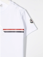 Moncler White Newborn T-shirt With Logos And Tricolor Detail