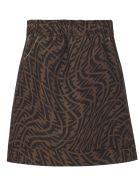 Fendi Brown Cotton Ff-logo Skirt - Check