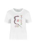 Saint Laurent Printed Cotton T-shirt - White