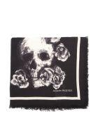 Alexander McQueen Skull & Roses Silk-wool Blend Scarf - Black/ivory