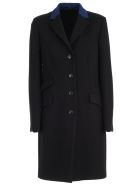 Paul Smith Coat Straight W/leather Collar - Black