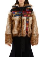 Sacai Embroidered Jacket With Faux Fur - NAVY (Black)