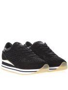 Crime london Dynamic Black Mesh & Suede Sneakers - Black