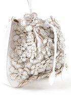 Alaia Floral Studded Tote - Optic White