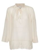 SEMICOUTURE Lace Trimmed Blouse - Avorio