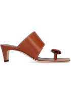 STAUD Luca Leather Mules - Saddle Brown