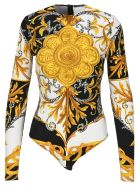 Versace Baroque-print Bodysuit - WHITE BLACK GOLD