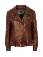 Golden Goose Victoria Belted Leather Jacket - brown