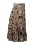 Burberry Logo And Stripe Print Crepe Pleated Skirt - Archive beige