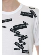 Dolce & Gabbana White Cotton Logo Labels T-shirt - White