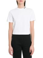 Calvin Klein Jeans Cropo Tee With Contrasting Logo Embroidery On Neck - Bianco