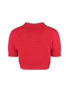 L'Autre Chose Cropped Rib-knit Cardigan - red