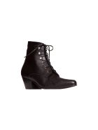 Saint Laurent Susan Laced Ankle Boots In Leather - NERO