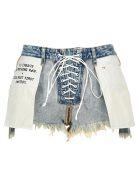 Ben Taverniti Unravel Project Unravel Reverse Laceup Shorts - BLUE