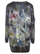 Avant Toi Floral Printed Cardigan - Black/Multicolor