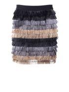 Bcbg Max Azria Christal Metallic-fringe Mini Skirt - Multi