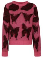 MSGM Butterfly Embroidered Sweater - Fuxia