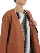 Loewe Contrast Stitch Leather Coat - Brown