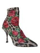 Dolce & Gabbana Leopard And Rose Print Ankle Boots - leopard print