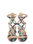 The Seller Multicolor Python Print Leather Gladiator Sandals - multicolor
