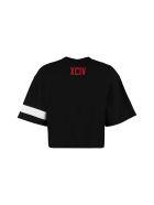 GCDS Cropped T-shirt With Logo - black