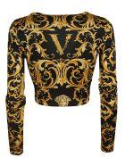 Versace Printed Cropped Top - Black