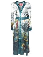 For Restless Sleepers Multiple Print Belted Long Dress - Blue