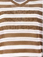 Brunello Cucinelli White And Brown Cotton Jumper - Rigato