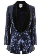 In The Mood For Love Sequins Scarlet Tuxedo Jacket - BLUENAVY (Blue)